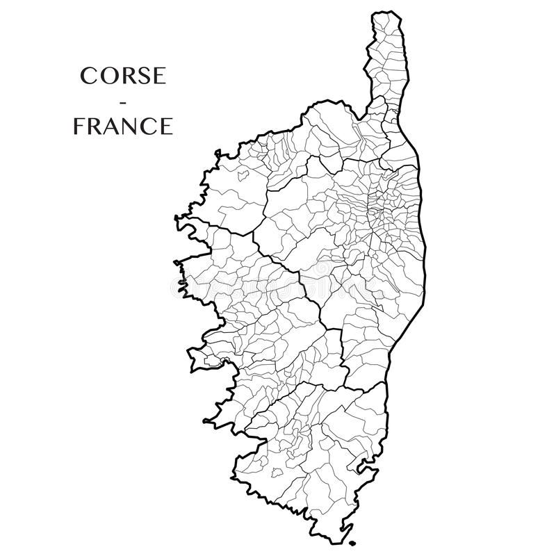 Vector la mappa della regione Corsica, Francia fotografie stock