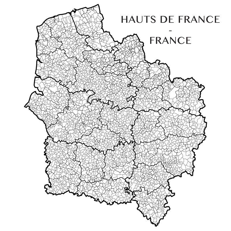 Vector la mappa della regione Hauts il de Francia, Francia immagine stock libera da diritti