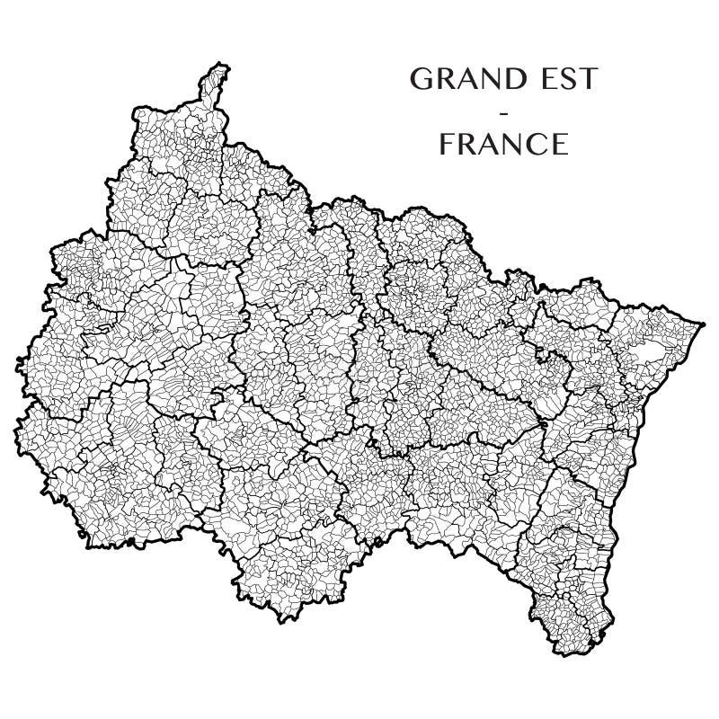 Vector la mappa della regione il grande Est, Francia immagini stock