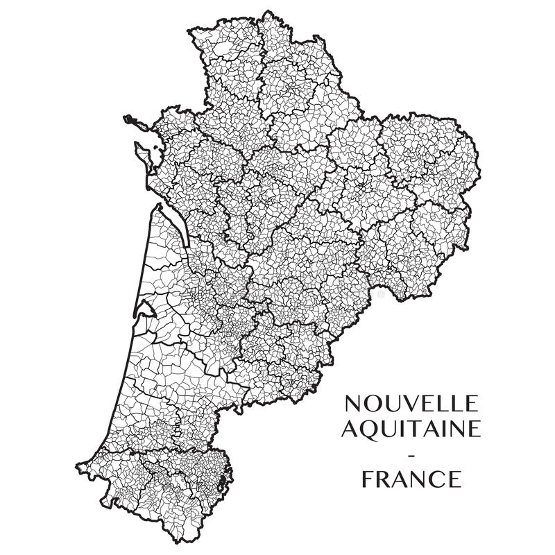 Vector la mappa della regione l'Nuova-Aquitania, Francia fotografia stock libera da diritti