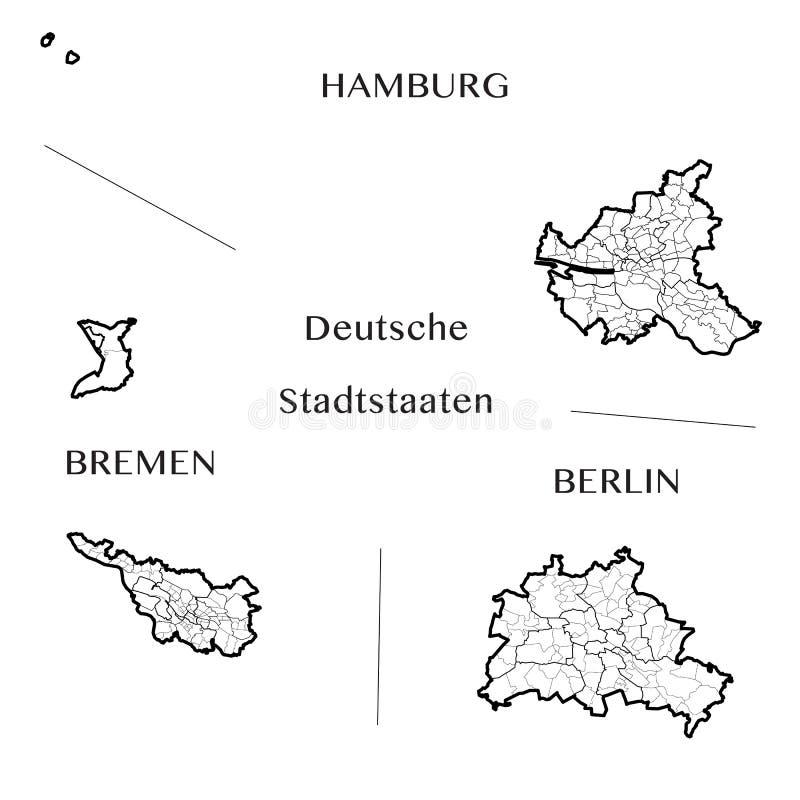 Vector la mappa delle città stato federali di Berlino, di Amburgo e di Brema, Germania immagini stock