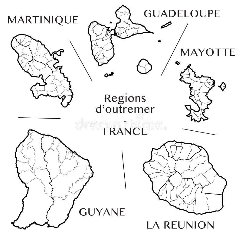 Vector la mappa delle regioni d'oltremare francesi con la Martinica, la Guadalupa, Mayotte, la Riunione della La e Guiana frances immagine stock