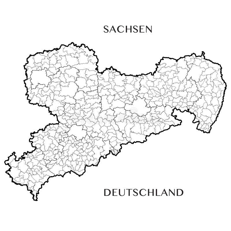 Vector la mappa dello stato libero federale della Sassonia, Germania immagini stock libere da diritti