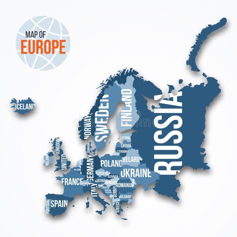 Vector la mappa dettagliata di Europa con i confini ed i nomi di paese illustrazione vettoriale