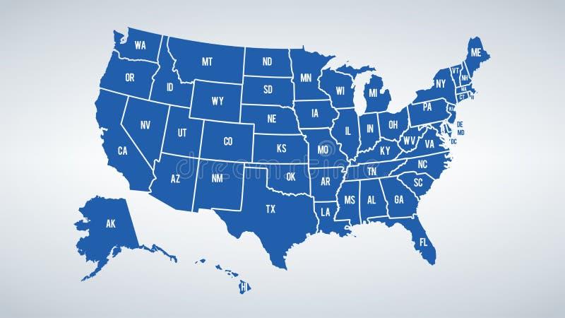 Vector la mappa di colori di U.S.A. con i confini degli stati ed il nome di shorts di ciascuno stati illustrazione vettoriale