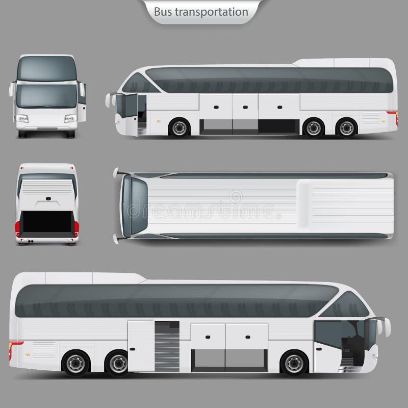 Vector la maqueta realista trasera, visión superior del autobús del coche stock de ilustración