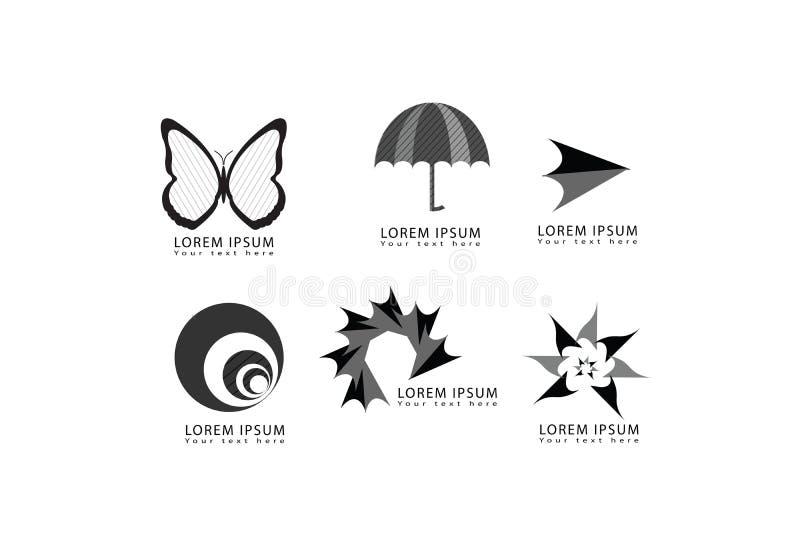 Vector la mariposa abstracta, paraguas, flecha, ronda, círculo, estrella, iconos del logotipo de la forma del remolino fijados pa stock de ilustración