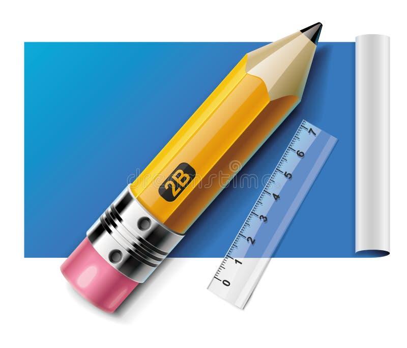 Vector la matita ed il righello sull'icona di carta dello strato XXL illustrazione vettoriale