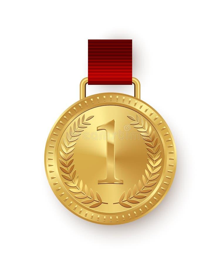 Vector la medaglia d'oro con i nastri rossi isolati su fondo bianco illustrazione di stock