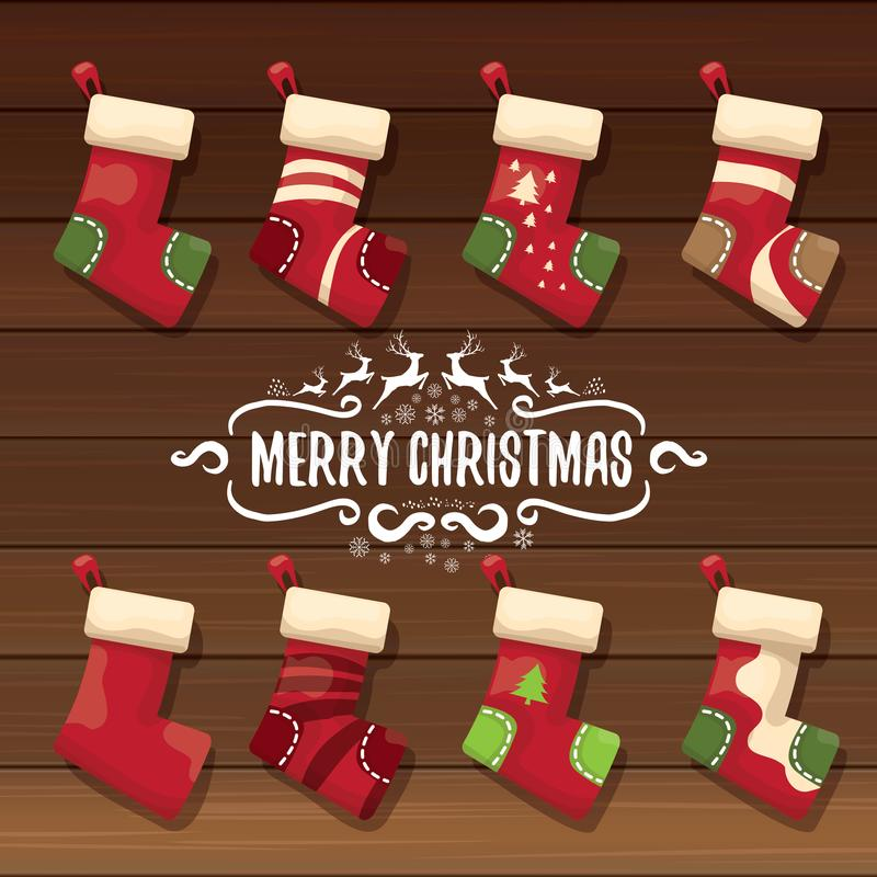 Vector la media o los calcetines lindos de la Navidad de la historieta con el ornamento del color stock de ilustración