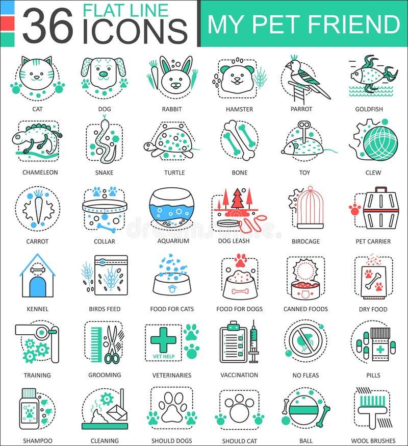 Vector la mia linea piana icone dell'amico dell'animale domestico del profilo per i apps ed il web design Icona dell'animale dome illustrazione di stock