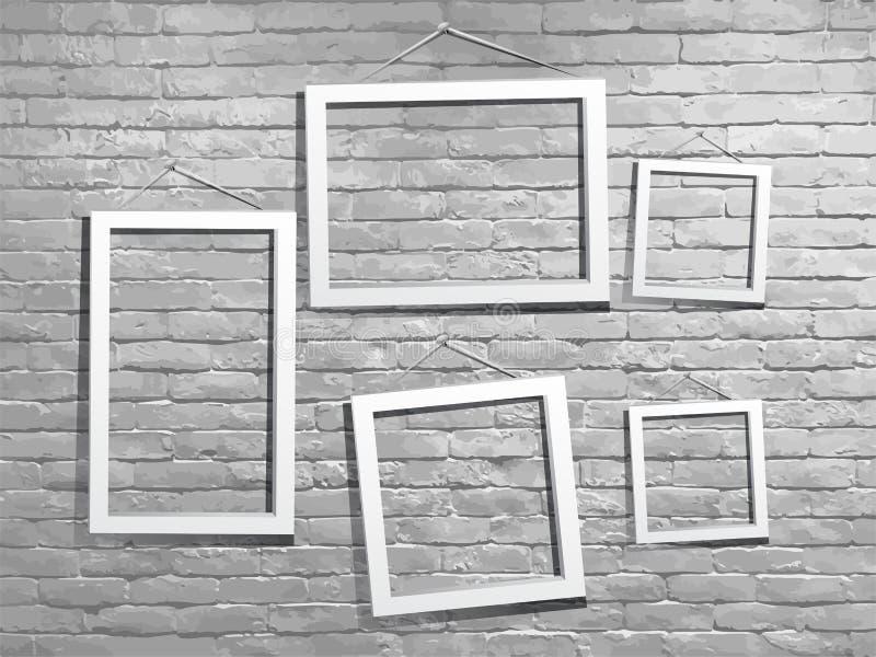 Vector la mofa del blanco encima del marco de la foto con la pared de ladrillo libre illustration