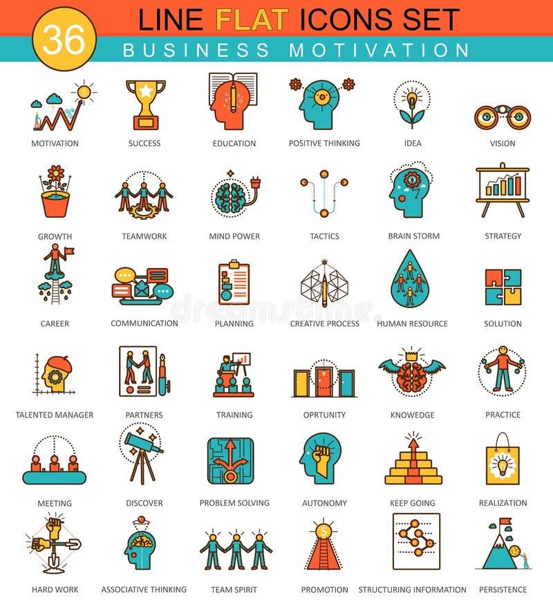 Vector la motivación y la línea plana sistema del negocio de la disciplina del icono stock de ilustración