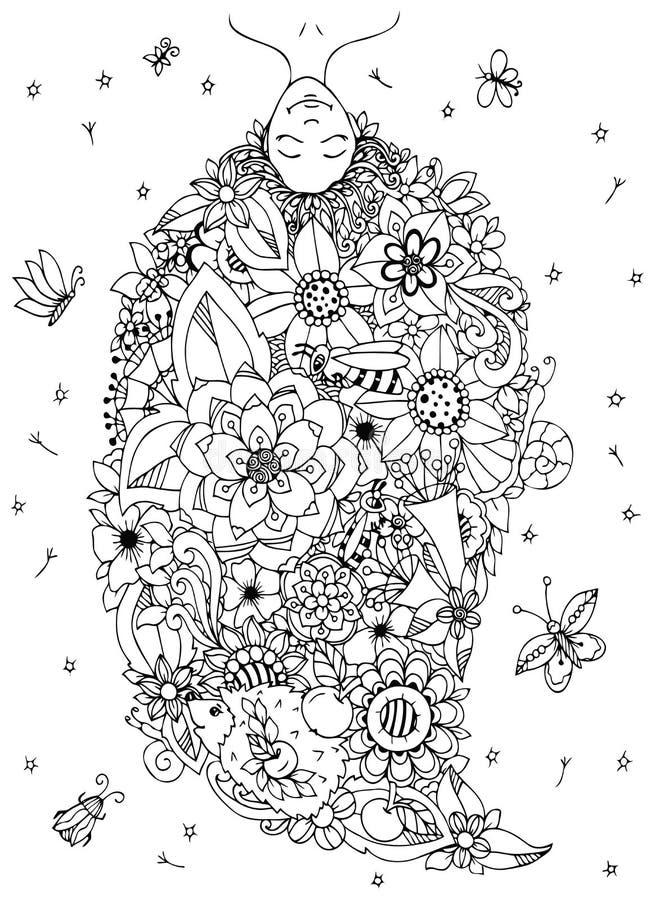 Vector a la muchacha de Zen Tangle del ejemplo al revés con las flores en su cabeza Dibujo del garabato Tensión anti del libro de ilustración del vector
