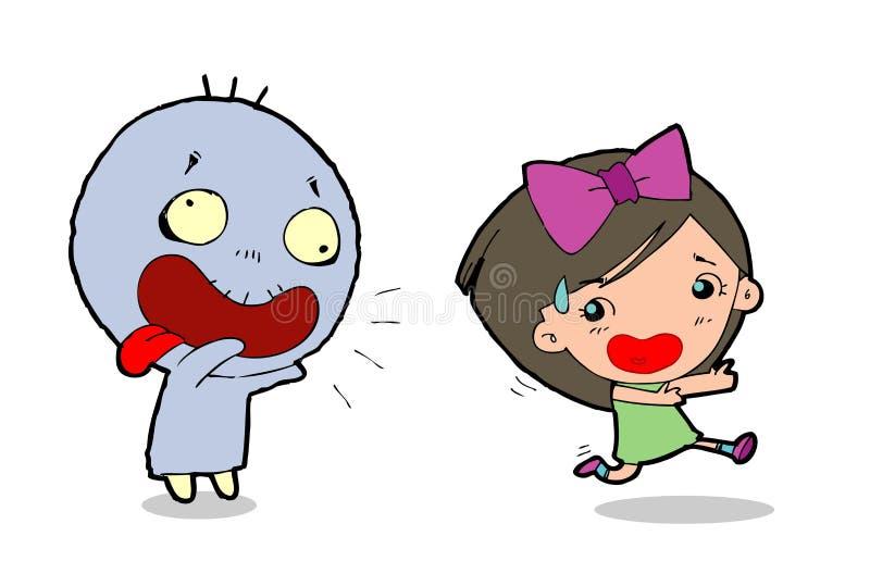Vector a la muchacha del ejemplo que corre lejos de fantasma en el fondo blanco, feliz Halloween, partido de Halloween stock de ilustración