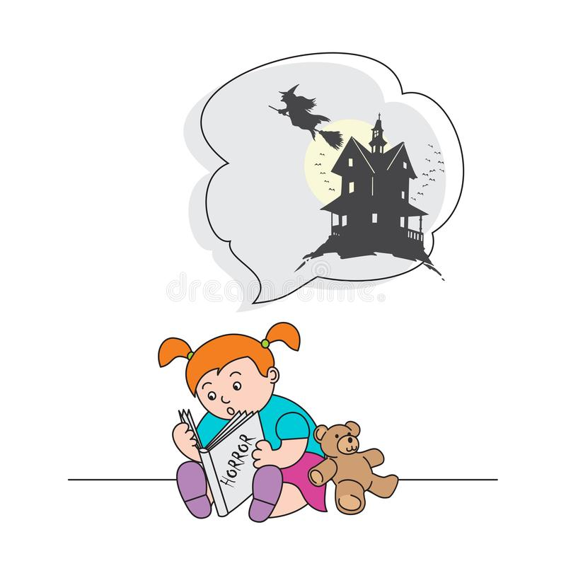 Vector a la muchacha del ejemplo que lee un libro con cuentos de hadas y asustado de una bruja terrible ilustración del vector