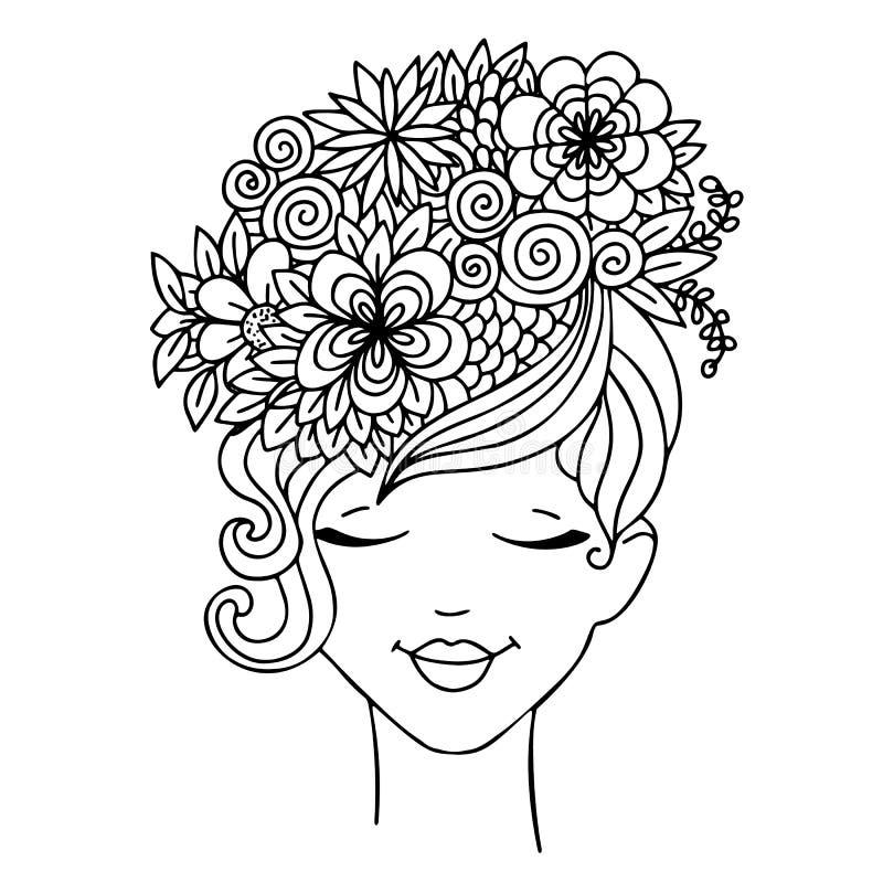 Vector a la muchacha del zentangl del ejemplo con las mariposas en flores Libro de colorear antiesfuerzo para los adultos Rebecca ilustración del vector
