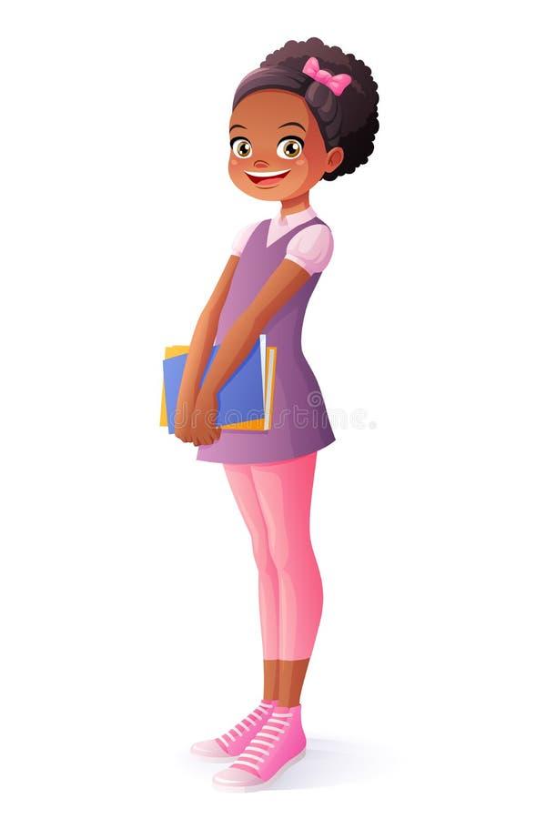 Vector a la muchacha joven sonriente del estudiante de la escuela del africano que se coloca con los libros stock de ilustración