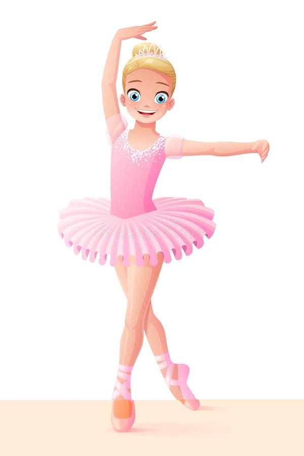 Vector a la muchacha joven sonriente linda de la bailarina del baile en tutú rosado stock de ilustración