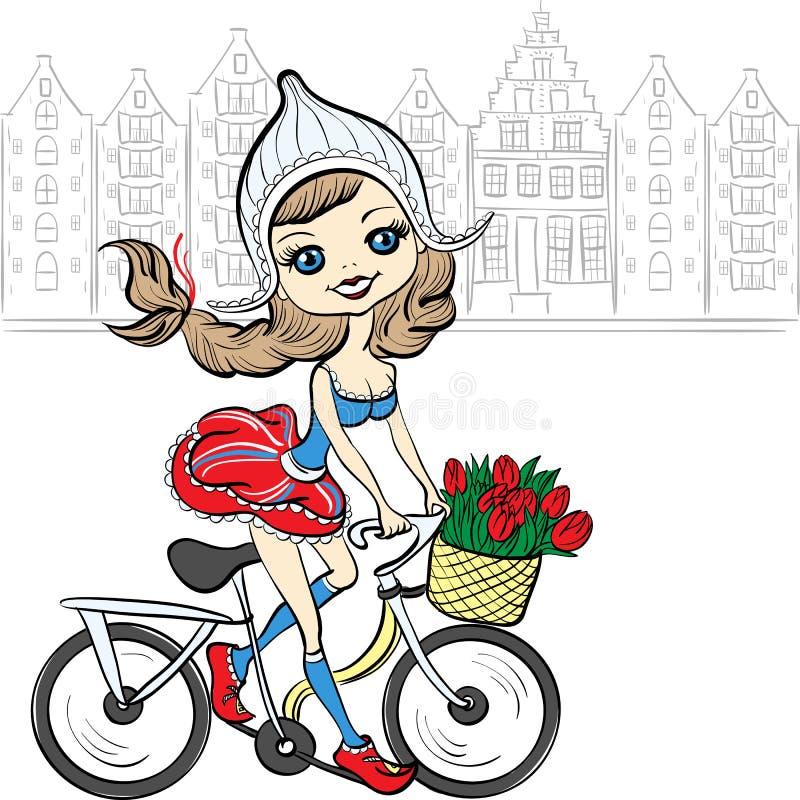 Vector a la muchacha linda en la bici en Amsterdam libre illustration