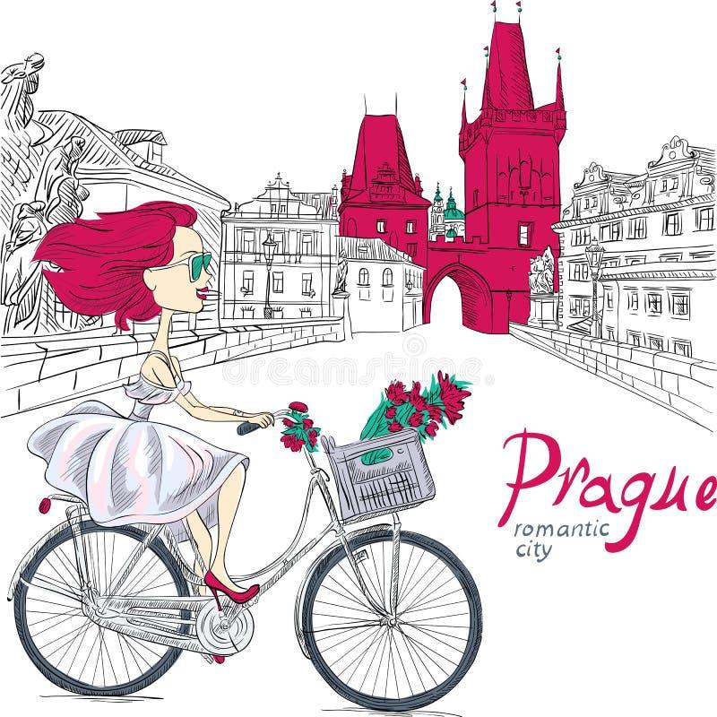 Vector a la muchacha linda en la bici en Praga stock de ilustración