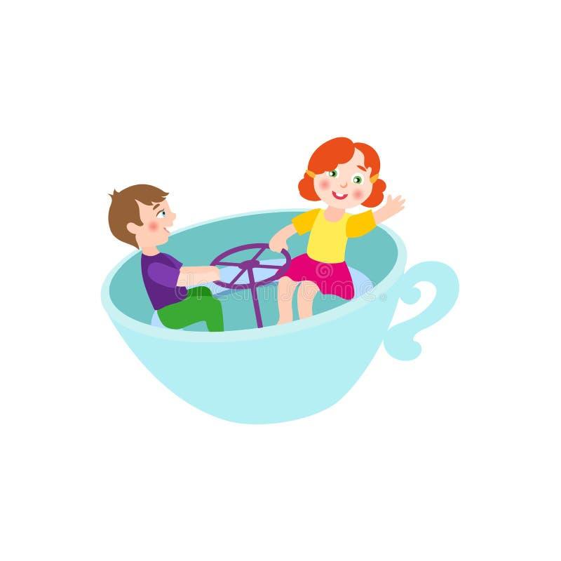 Vector a la muchacha plana del muchacho en taza de la silla del parque de atracciones ilustración del vector