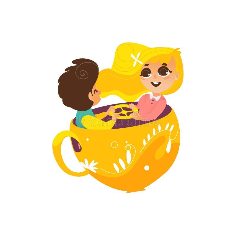 Vector a la muchacha plana del muchacho en taza de la silla del parque de atracciones libre illustration