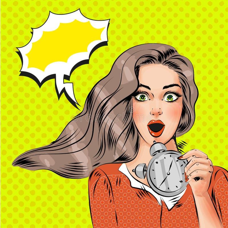 Vector a la muchacha sorprendida hermosa del arte pop con el despertador ilustración del vector