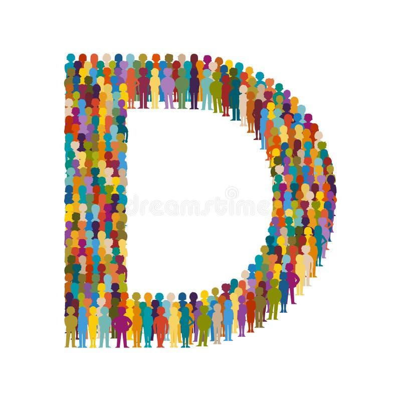 Vector a la muchedumbre de gente en forma de estilo plano de la mayúscula D libre illustration