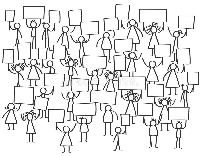 Vector a la muchedumbre de protestar las figuras, los hombres y a las mujeres del palillo soportando a tableros en blanco ilustración del vector