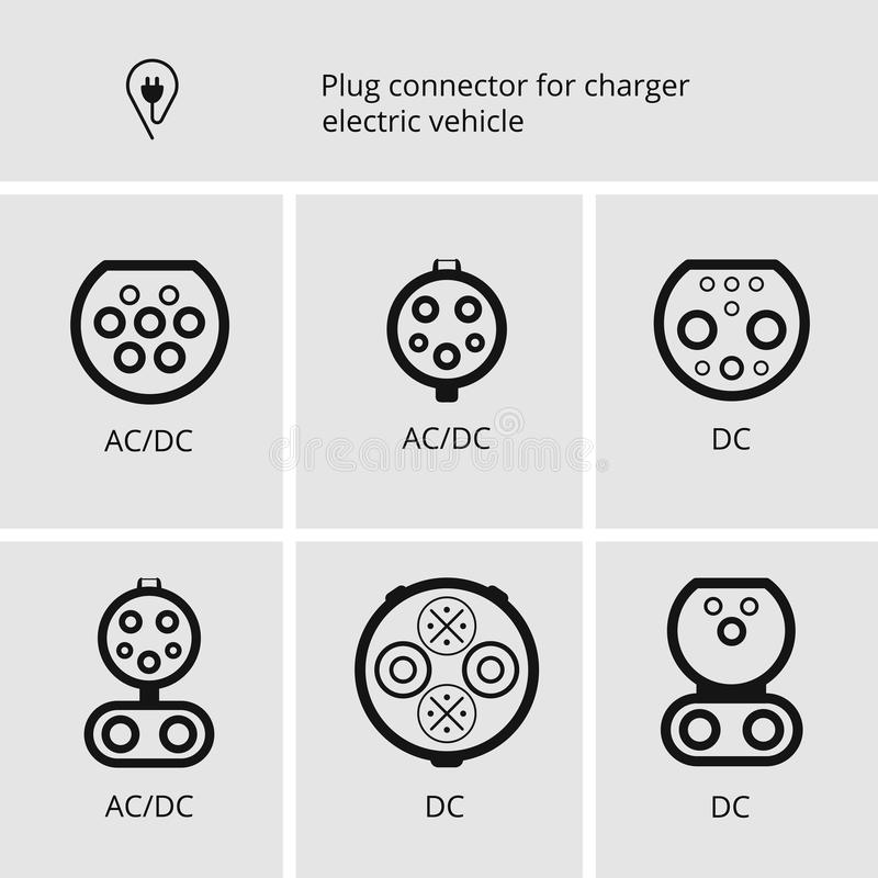 Vector la muestra, el cable y el enchufe del icono para cargar los coches eléctricos Conectores básicos para los vehículos eléctr ilustración del vector