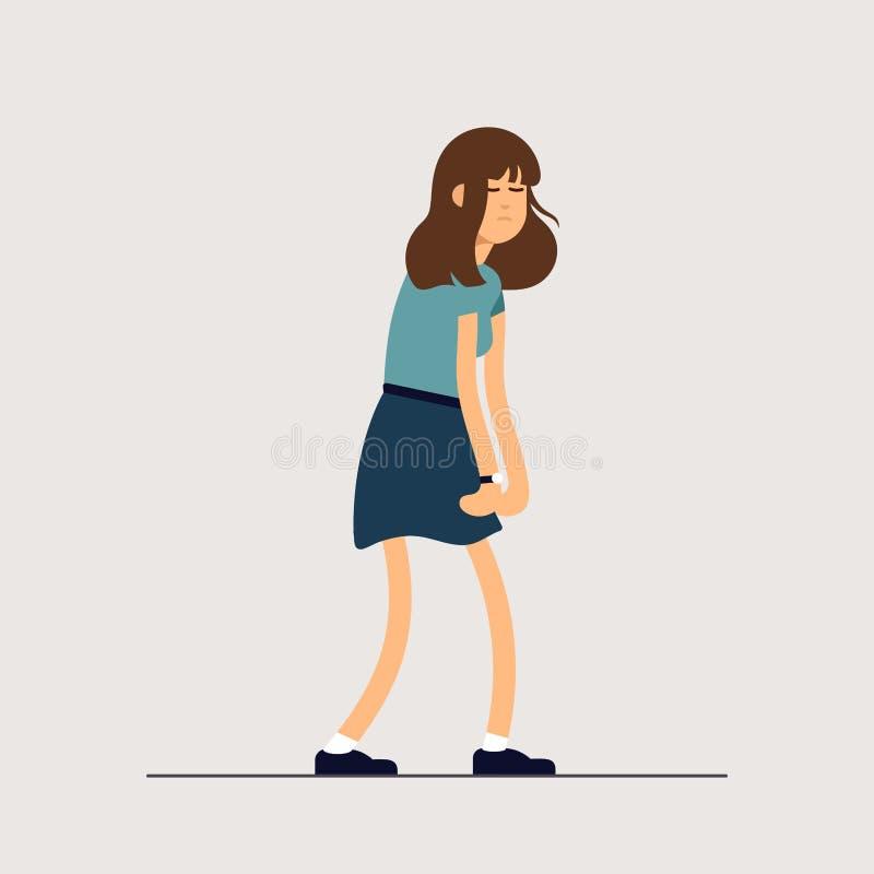 Vector a la mujer cansada joven del ejemplo, humor soñoliento, salud débil, mental agotado Carácter femenino del ejemplo del conc stock de ilustración