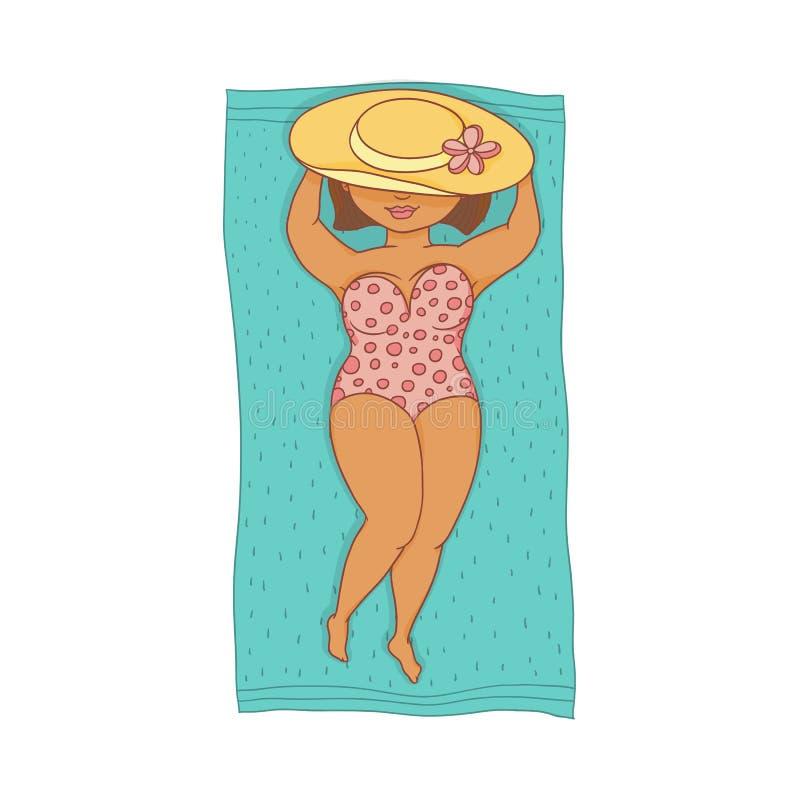 Vector a la mujer regordeta en el traje de baño que miente en la estera de la playa stock de ilustración