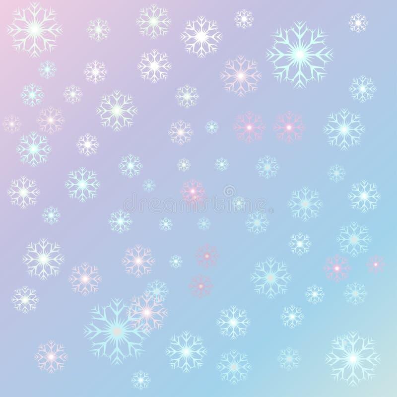 Vector la Navidad del ejemplo, copos de nieve de la serenidad en un qua de la rosa libre illustration