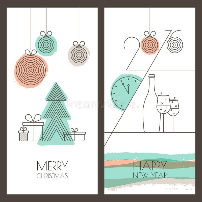 Vector la Navidad dibujada mano, tarjeta de felicitación del Año Nuevo libre illustration
