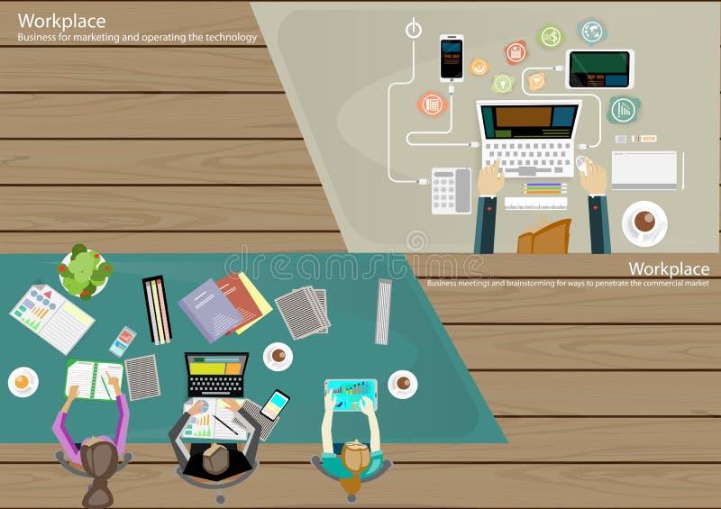 Vector la opinión superior del hombre de negocios del lugar de trabajo que las tecnologías de comunicación modernas encargan, lev stock de ilustración