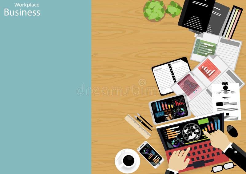 Vector la opinión superior del hombre de negocios del lugar de trabajo que las tecnologías de comunicación modernas encargan, lev libre illustration