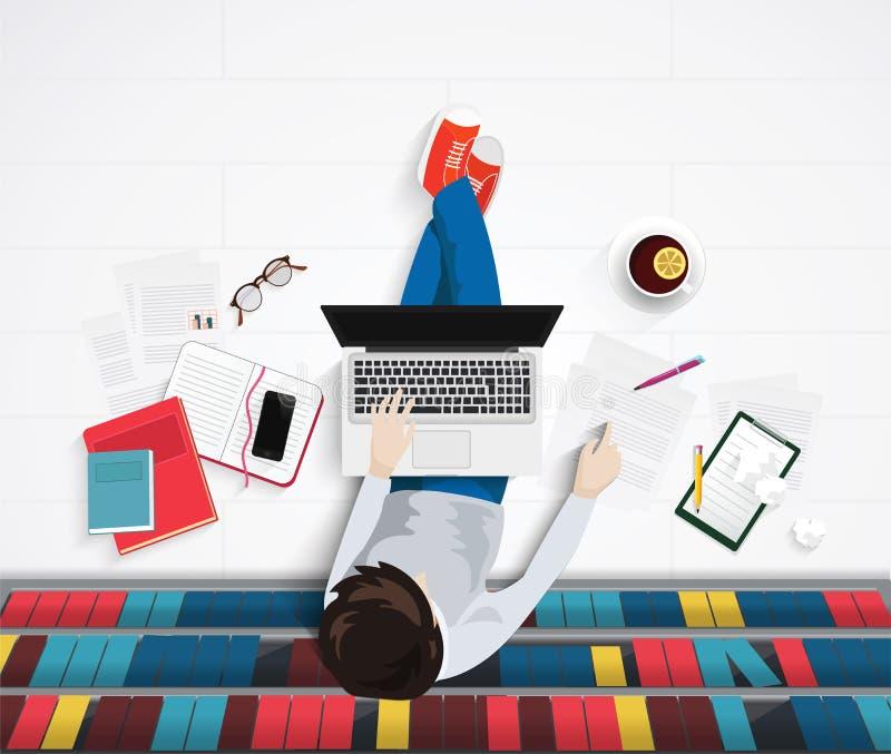 Vector la opinión superior el hombre joven que se sienta en piso con el worlplace de los elementos Oficina de la biblioteca libre illustration