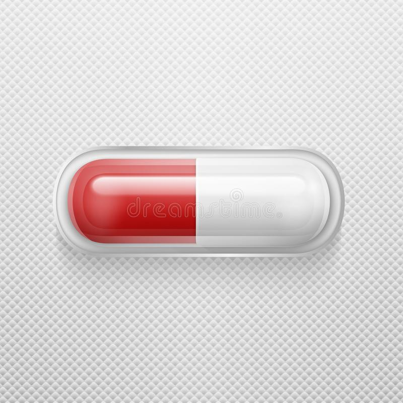 Vector la píldora médica blanca y roja realista de 3d en primer del icono del paquete Plantilla del diseño para los gráficos, ban ilustración del vector