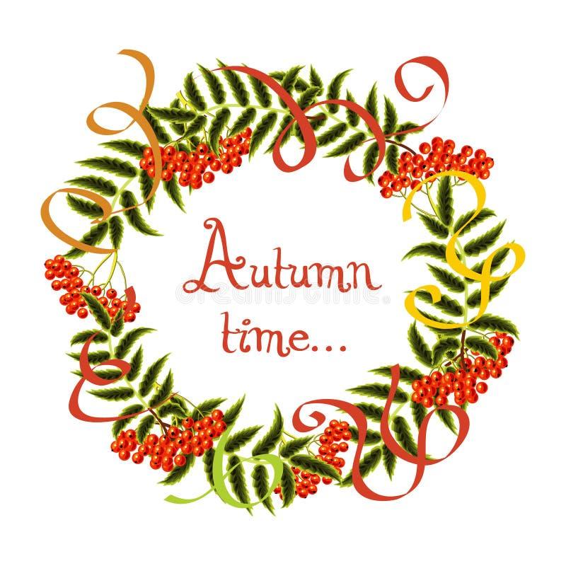 Vector la pagina delle foglie di autunno e delle bacche di sorbo sopra illustrazione vettoriale