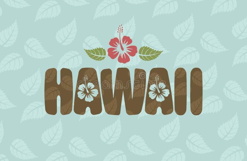 Vector la palabra de Hawaii con las flores y las hojas del hibisco libre illustration