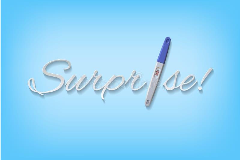 Vector la palabra de la sorpresa con la prueba embarazada positiva azul ilustración del vector