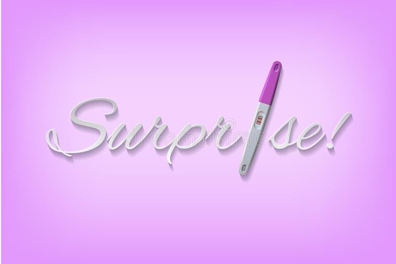 Vector la palabra de la sorpresa con la prueba de embarazo positiva rosada stock de ilustración
