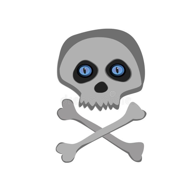 Vector la palella di scheletro del fumetto con gli occhi azzurri isolati su fondo bianco royalty illustrazione gratis