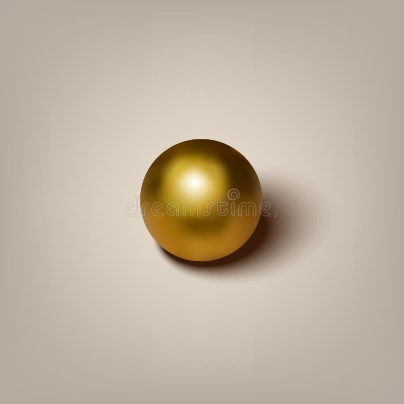 Vector la palla dorata realistica con ombra su fondo grigio illustrazione vettoriale