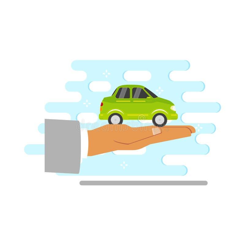 Vector la palma plana de la mano del hombre con el vehículo verde del coche libre illustration