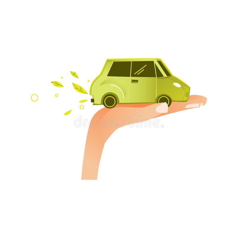 Vector la palma plana de la mano del hombre con el vehículo verde del coche stock de ilustración