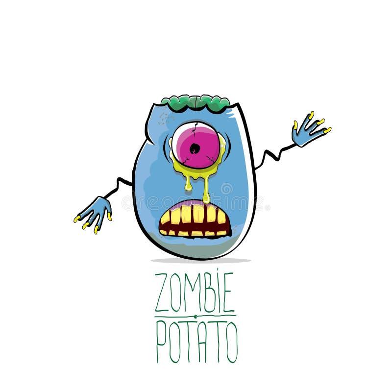 Vector la patata blu sveglia dello zombie del fumetto divertente isolata su fondo bianco Carattere funky di verdure del mostro di royalty illustrazione gratis