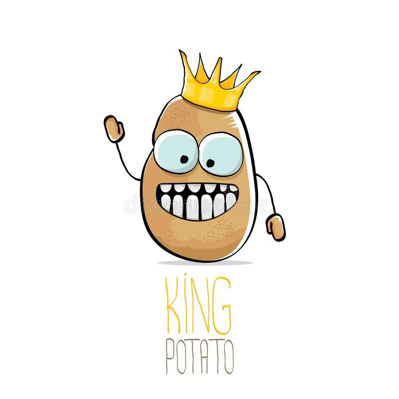 Vector la patata sonriente marrón linda fresca del rey de la historieta divertida libre illustration