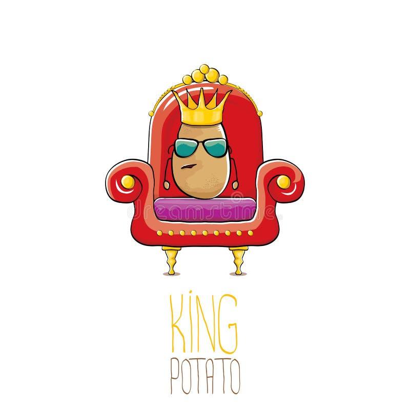Vector la patata sonriente marrón linda fresca del rey de la historieta divertida con la corona real de oro que se sienta en el t libre illustration